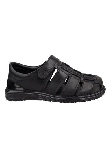 Wolfland Hakiki Deri Sandalet Siyah